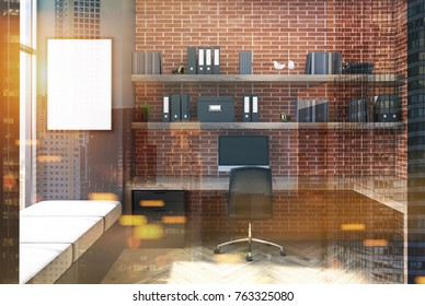 Gray and brick office interior with a wooden table, a chair, bookcases and bookshelves and a vertical poster on the wall. 3d rendering mock up double exposure toned image