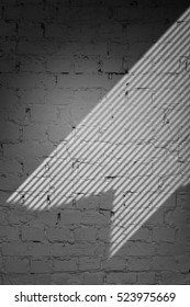 Gray Brick Wall With Blinds Shadow Texture