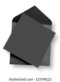 Gray card and envelope with shadow (clipping path)