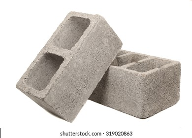 Gray Cement Cinder Block Isolated On White Background