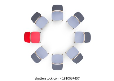 Gray chairs stand in a circle on a white background. One red chair stands out.
