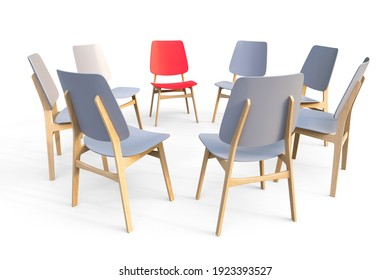 Gray chairs stand in a circle on a white background. One red chair stands out. The concept of leadership.