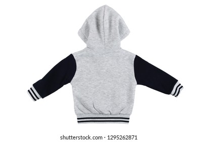 Gray children hoodie sweatshirt long sleeve isolated on a white background. Back view