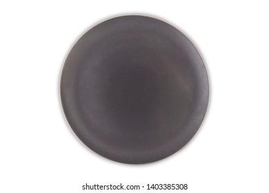 Gray circle ceramic plates on top view