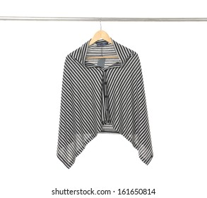 Gray clothes hanger isolated on white