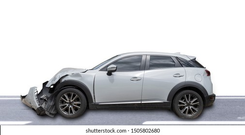 Gray color car damaged and broken by accident . Isolate on white background. Save with cliping path. Car crash.