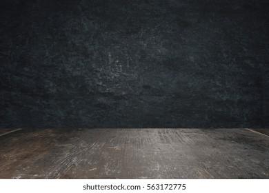 gray concrete wall and wooden floor. 3D Rendering