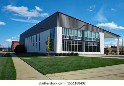 Gray Contemporary Building with New Landscaping