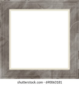 Gray decorative weathered square wood photo painting picture frame with empty isolated filling.