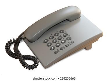 Gray desk phone isolated on white background