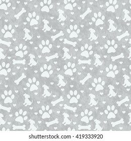 Gray Dog Paw Prints, Puppy, Bone and Hearts Tile Pattern Repeat Background that is seamless and repeats