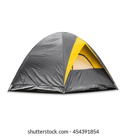 Gray dome tent, isolated on white background with clipping path