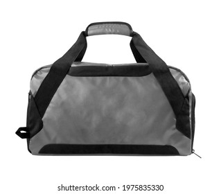 gray duffle bag, sport gym pouch with shoulder strap isolated on white background