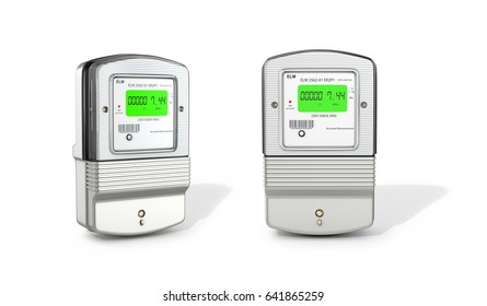 Gray electric counters on a white background. 3D illustration