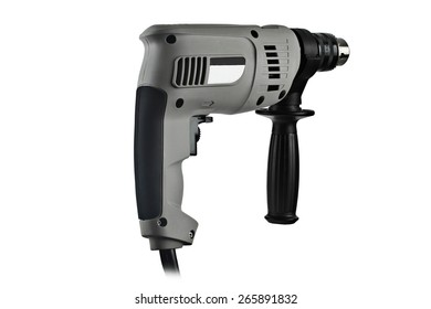 Gray electric drill on a white background.