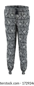 Gray with elephants harem pants. High cut harem pants.  Isolated image on a white background. Elastic band on the legs.