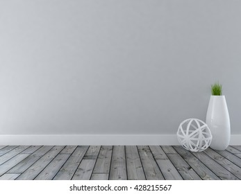 gray empty interior with a big vase. 3d illustration