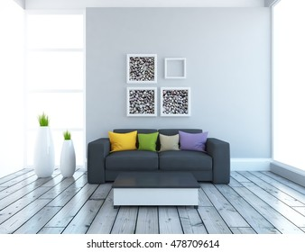 gray empty interior with a black sofa. 3d illustration
