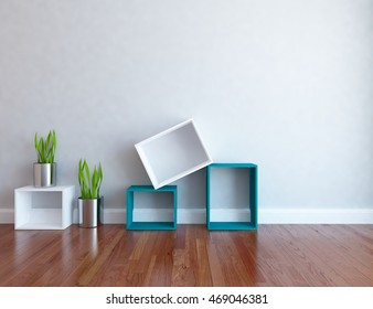 gray empty interior with cubes and vases. 3d illustration