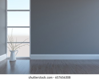 gray empty interior with decor. 3d illustration