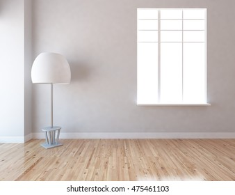 gray empty interior with a lamp. 3d illustration