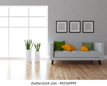 gray empty interior with a sofa. 3d illustration