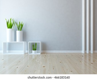 gray empty interior with vases. 3d illustration