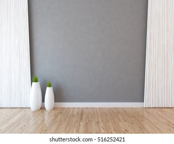 gray empty interior with white curtains and vases. 3d illustration