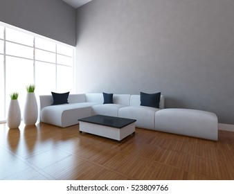 gray empty interior with a white sofa and vases. 3d illustration