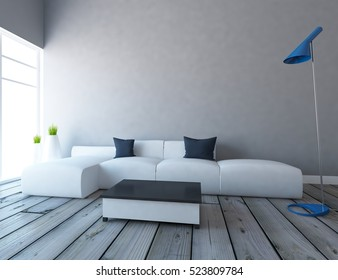 gray empty interior with a white sofa, lamp and vases. 3d illustration
