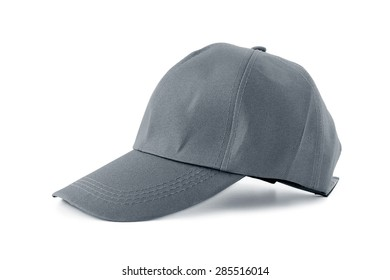 Gray fabric cap -  isolated on white background