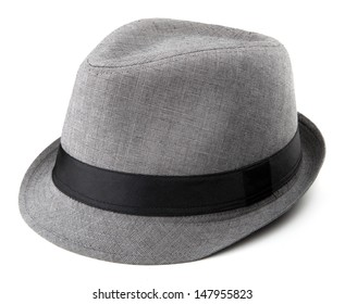 Gray Fedora isolated on a white background