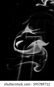 gray flame smoke on black background