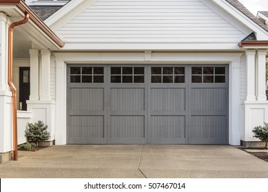 Beau Gray Garage Door That Is Closed