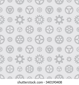 Gray gears seamless pattern against the light-gray background