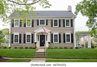 Gray Georgian Colonial Home