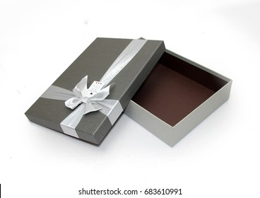 Gray Gift Box, Brown Inside, White Ribbon Open Lid