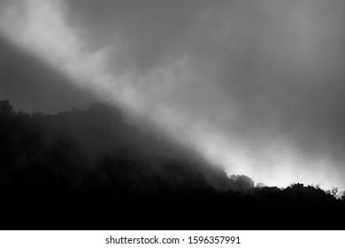 gray gloomy foggy sky at night