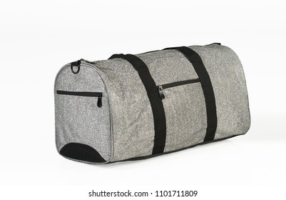 Gray Gym Bag with Sparkle Material Isolated on a White Background