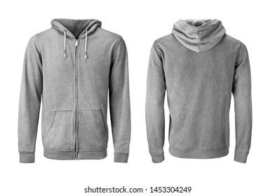 Gray hoodie or sweatshirt mockup isoalated on white background