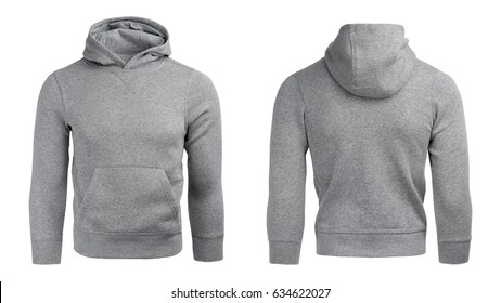 gray hoodie, sweatshirt mockup, on white background.