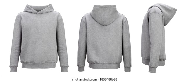 Gray hoodie template. Hoodie sweatshirt long sleeve with clipping path, hoody for design mockup for print, isolated on white background.