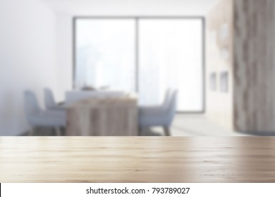 Gray kitchen corner with a panoramic window, a concrete floor, a wooden table, white chairs and a bar. 3d rendering mock up blurred
