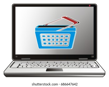 gray laptop with empty shop basket on the monitor