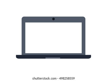 Gray laptop flat icon. Laptop flat icon with blank white screen. Laptop in front. Concept of IT communication, e-learning, internet network. Isolated object on white background.  illustration.