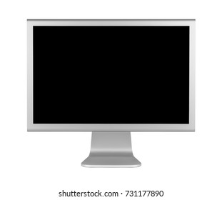 Gray LCD computer monitor with minimalist design. Front view