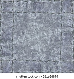 gray leather background, seams in shape of the frame