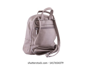 Gray leather bag backpack isolated on white background