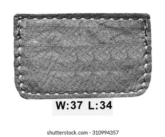 gray leather label isolated on white background
