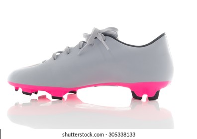 df3dcbbf7 gray leather soccer shoes,Football boots. Soccer boot, isolated on white  background